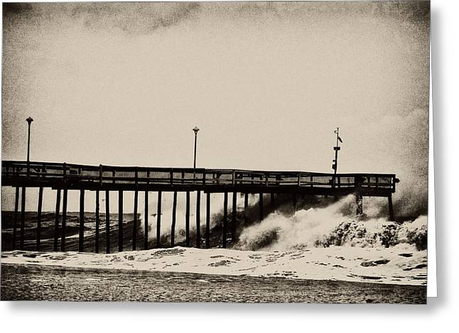 Greeting Card featuring the photograph Beatin' Pier by Kelly Reber