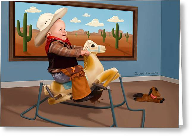 Beau The Cowboy Greeting Card by Julie Preston