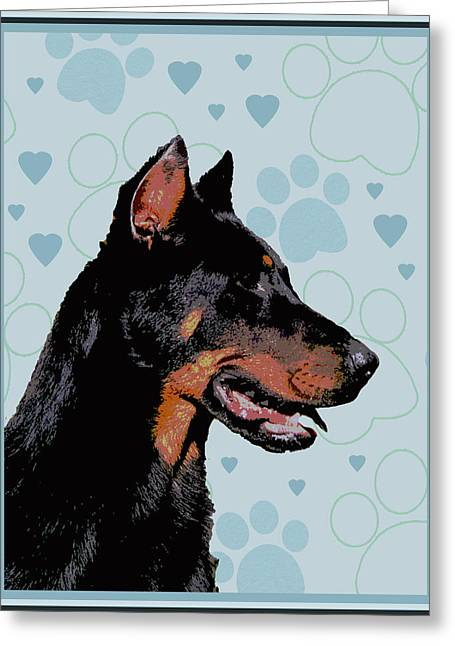 Beauceron Greeting Card by One Rude Dawg Orcutt