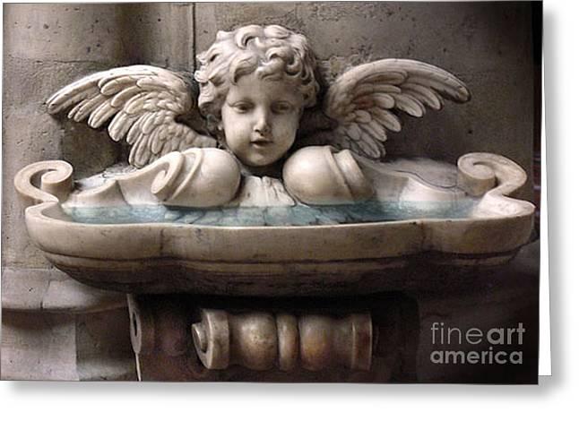Paris Angel Cherub Fountain - Beautiful Angel Cherub Wings At Fountain Sculpture Greeting Card by Kathy Fornal