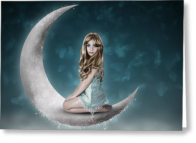 Greeting Card featuring the photograph Beautiful Child Sitting On Crescent Moon by Ethiriel  Photography