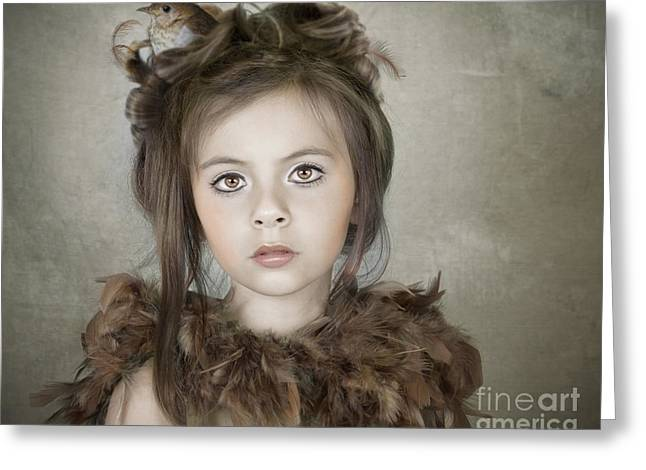 Greeting Card featuring the photograph Beautiful Child With Bird by Ethiriel  Photography