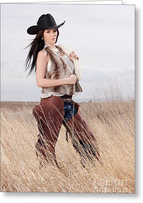 Beautiful Cowgirl Greeting Card by Cindy Singleton