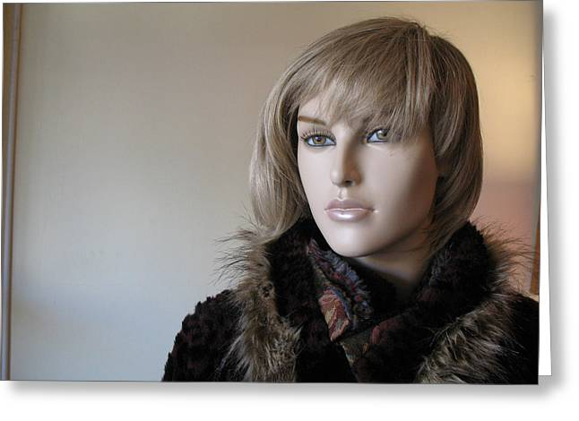 Beautiful Female Face Portrait Mannequin Art Greeting Card by Kathy Fornal