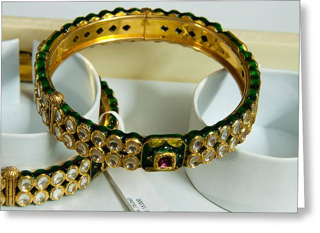 Beautiful Green And Purple Covered Gold Bangles With Semi-precious Stones Inlaid Greeting Card by Ashish Agarwal