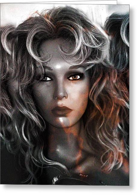 Beautiful Mannequin Face Silver And Gold Greeting Card by Kathy Fornal