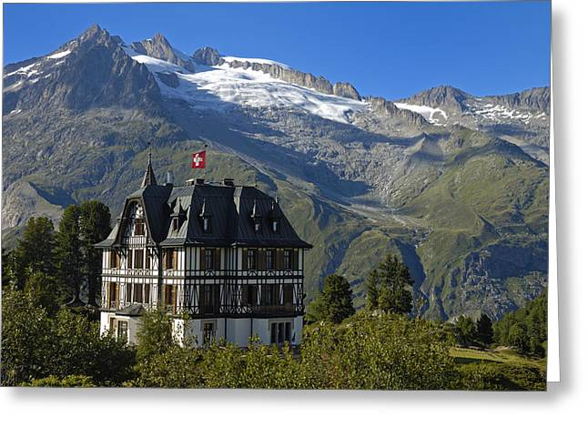 Beautiful Mansion In The Swiss Alps Greeting Card by Matthias Hauser