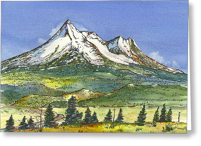 Greeting Card featuring the painting Beautiful Mt Shasta  by Terry Banderas