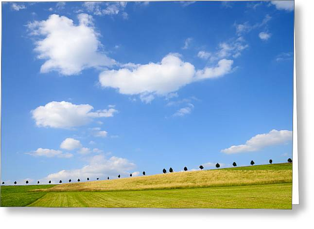 Beautiful Summer Landscape With Blue Sky And Clouds Greeting Card