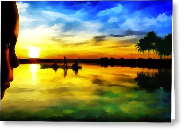 Beautiful Sunset Greeting Card by Vidka Art