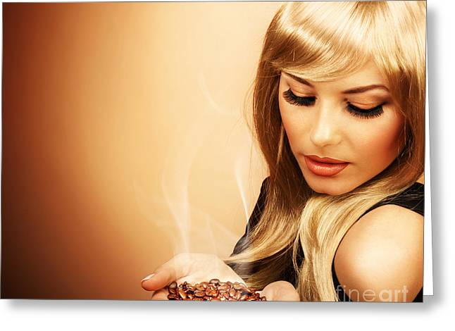Beautiful Woman Holding Coffee Bean Greeting Card by Anna Om