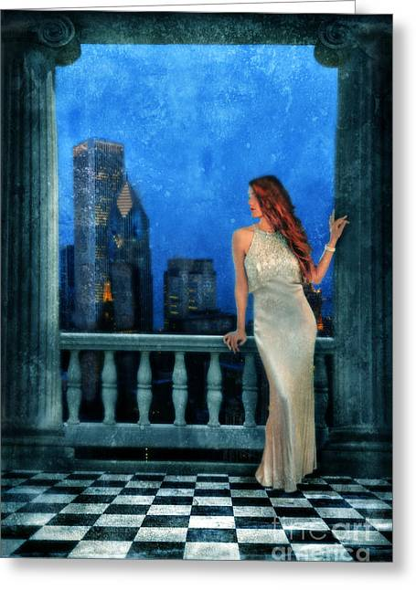Beautiful Woman In Evening Gown With City Night View Greeting Card