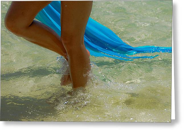 Beautiful Woman Legs In The Crystal Water Greeting Card by Jenny Rainbow