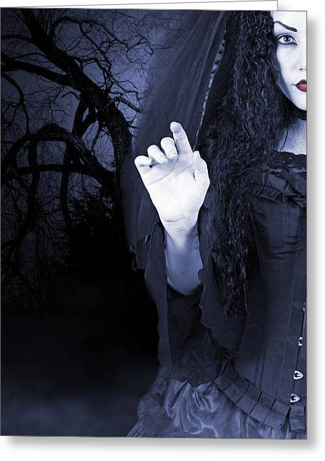 Greeting Card featuring the photograph Beautiful Woman Outside At Night by Ethiriel  Photography