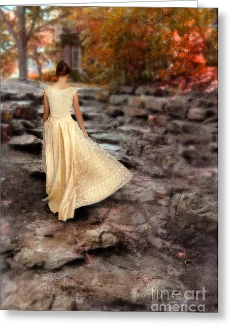 Beautiful Young Lady In Gown Walking Up Stone Walkway Greeting Card by Jill Battaglia