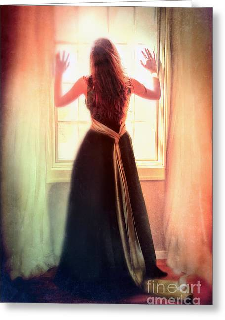 Beautiful Young Woman In Gown By Window Greeting Card