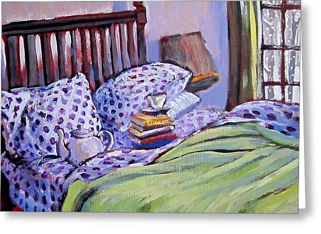 Bed And Books Greeting Card by Tilly Strauss