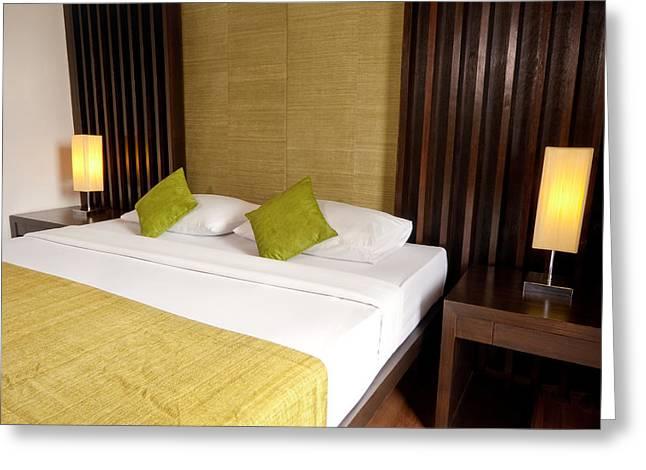 Bed Room Greeting Card by Atiketta Sangasaeng