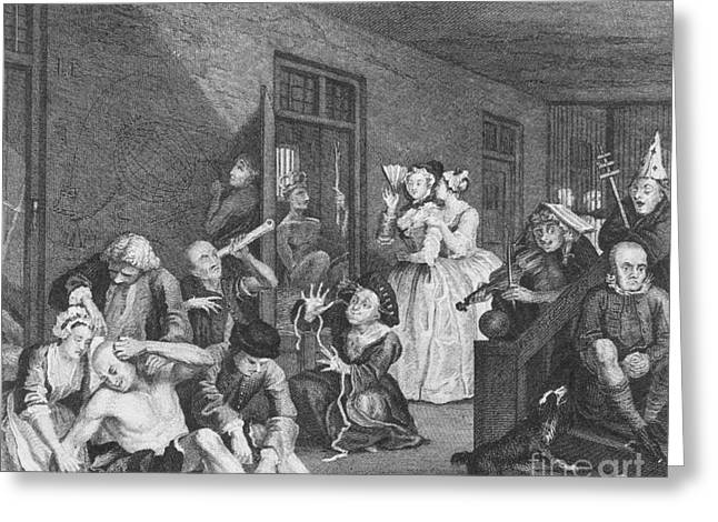 Bedlam By William Hogarth, 1735 Greeting Card by Science Source