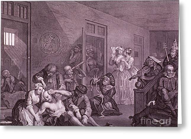 Bedlam, Engraving By Hogarth Greeting Card by Science Source