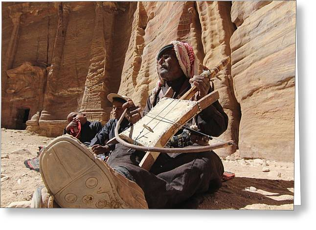 Bedouin Musician Greeting Card by Dave Eitzen