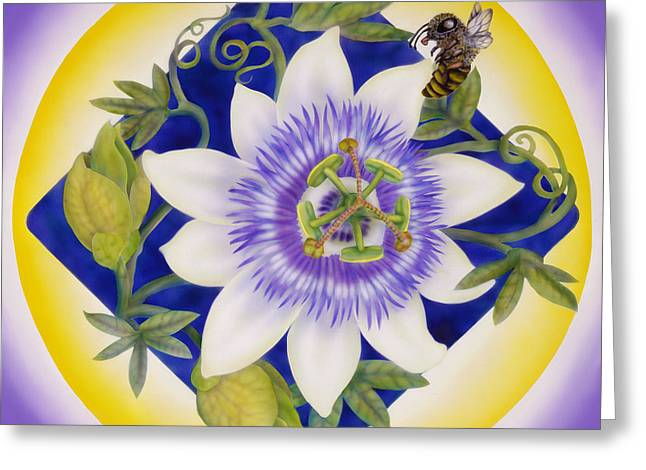 Bee And Passion Flower Greeting Card