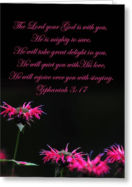 Greeting Card featuring the photograph Bee Balm And Bible Verse by Randall Branham