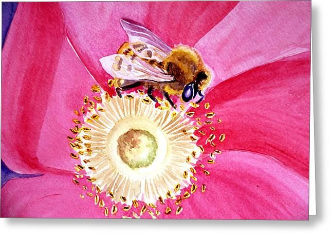 Bee On A Top Greeting Card by Irina Sztukowski