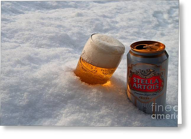 Beer In The Snow Greeting Card by Rob Hawkins
