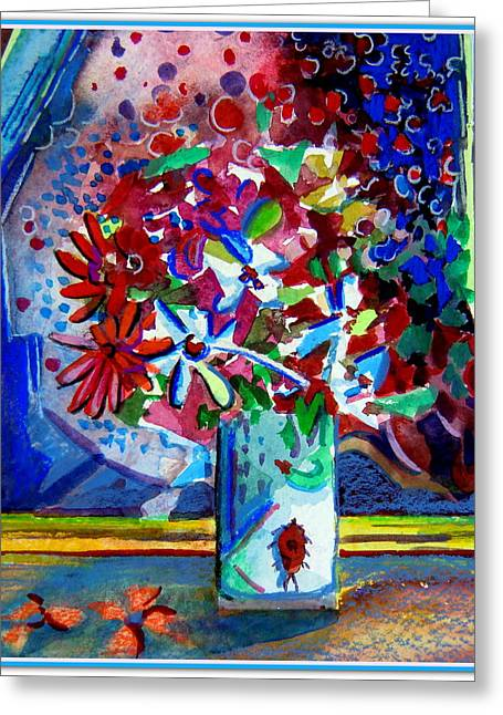 Beetle And Flowers Greeting Card by Mindy Newman