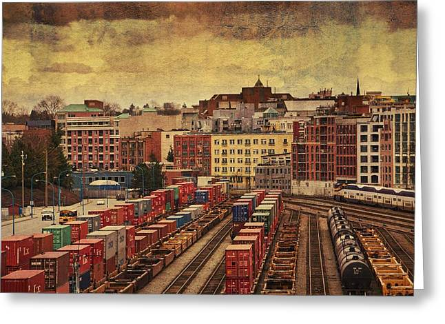 Behind Gas Town Greeting Card by Julius Reque