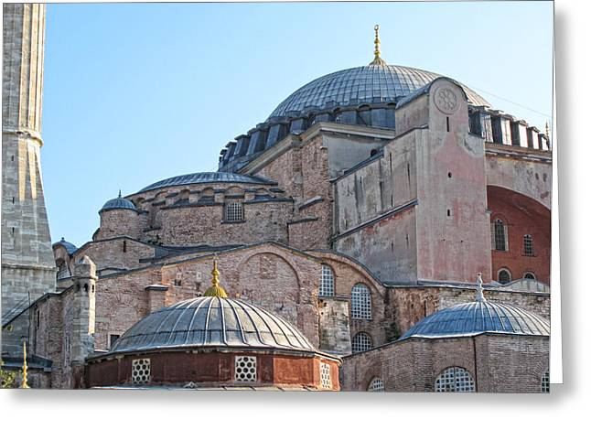 Behind The Blue Mosque Greeting Card by Linda Pulvermacher
