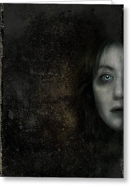 Behind The Door Greeting Card by Hazel Billingsley