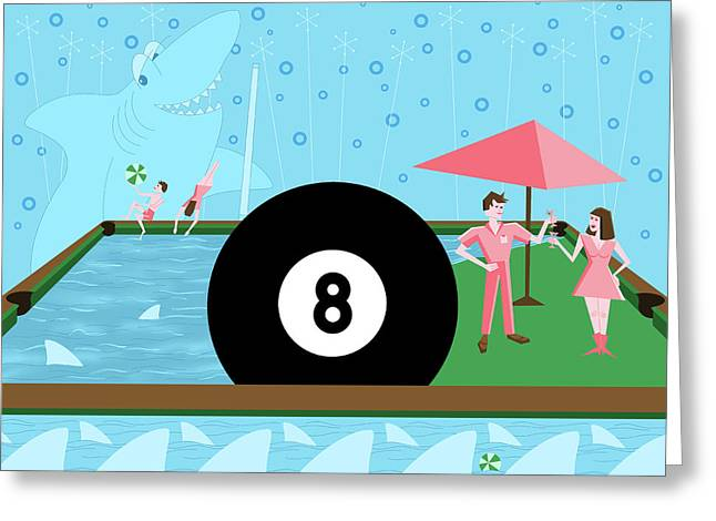 Behind The Eight Ball Greeting Card