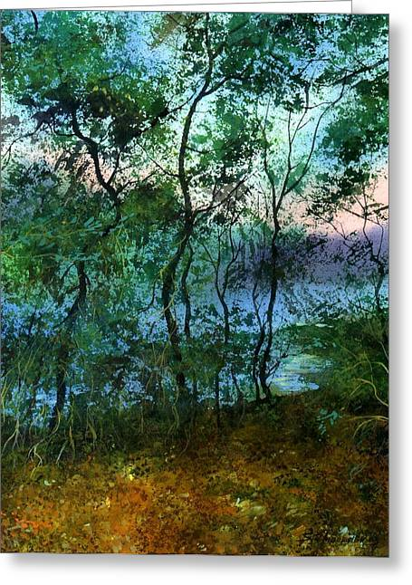 Behind The Trees Greeting Card by Sergey Zhiboedov