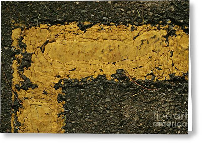 Behind The Yellow Line Greeting Card
