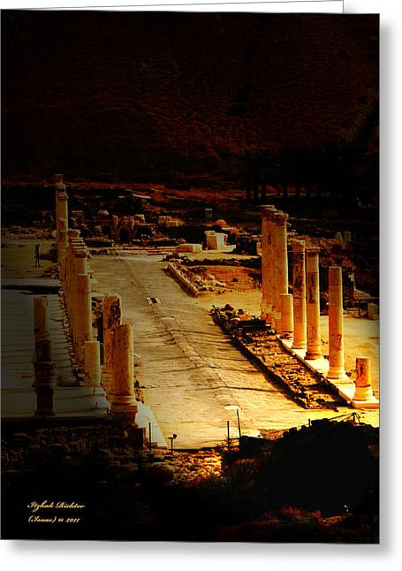 Beit She'an - Ancient Site - Colonnade.. Cardo Greeting Card