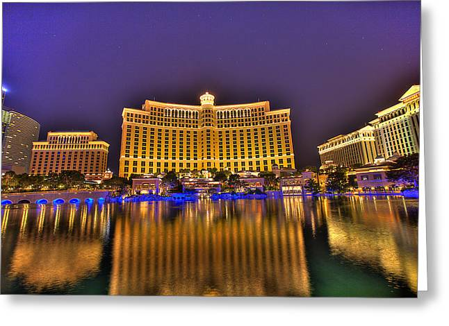 Belagio Las Vegas Greeting Card by Nicholas  Grunas