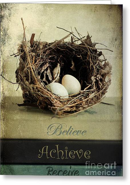 Believe Achieve Receive Greeting Card by Darren Fisher