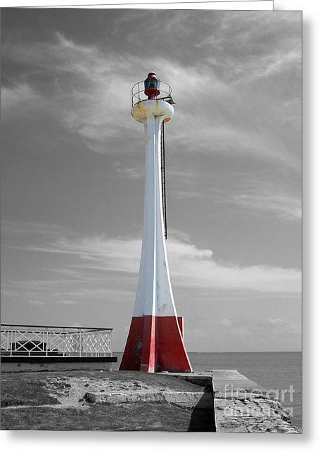 Greeting Card featuring the photograph Belize City Lighthouse Color Splash Black And White by Shawn O'Brien