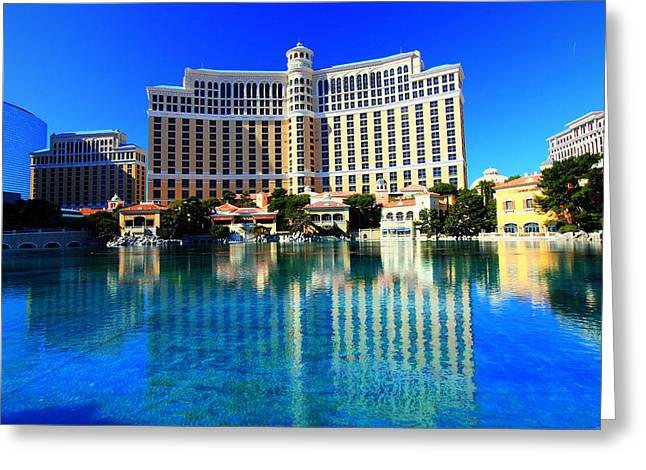 Greeting Card featuring the photograph Bellagio Waters by Linda Edgecomb