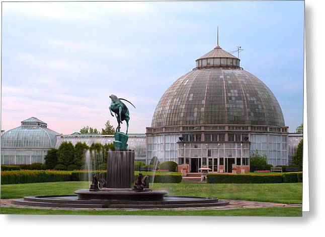 Belle Isle Anna Scripps Whitcomb Conservatory And Leaping Gazelle Statue By Marshall Fredericks Greeting Card by Gordon Dean II
