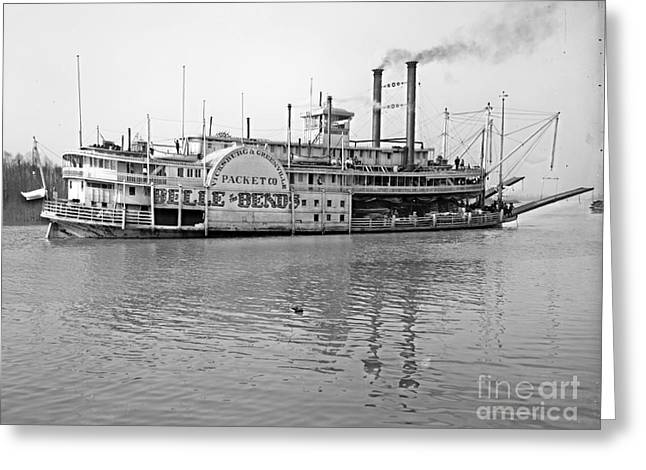 'belle Of The Bends' Steamboat 1906 Bw Greeting Card by Padre Art