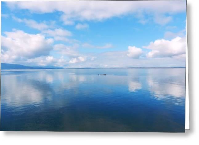 Greeting Card featuring the photograph Bellingham Bay In Blue by Karen Molenaar Terrell