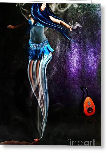 Belly Dance Genie Greeting Card by Vidka Art
