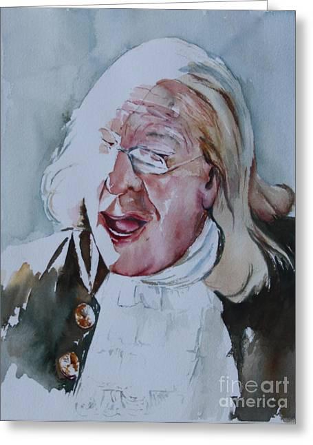 Ben Franklin Of Philadelphia Greeting Card by Peg Ott Mcguckin