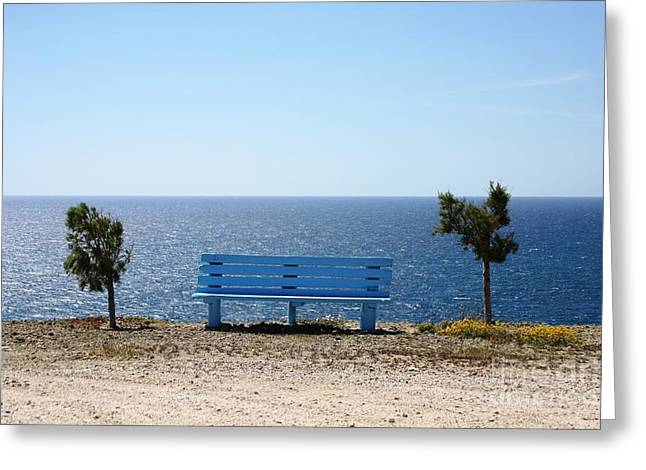 Bench With A View Greeting Card by Phoenix Michael  Davis