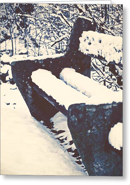 Bench With Snow Greeting Card by Joana Kruse