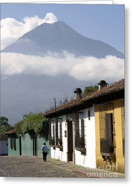 Beneath The Volcano Antigua Guatemala Greeting Card