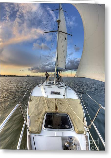 Beneteau Sailboat Sailing Sunset Greeting Card by Dustin K Ryan